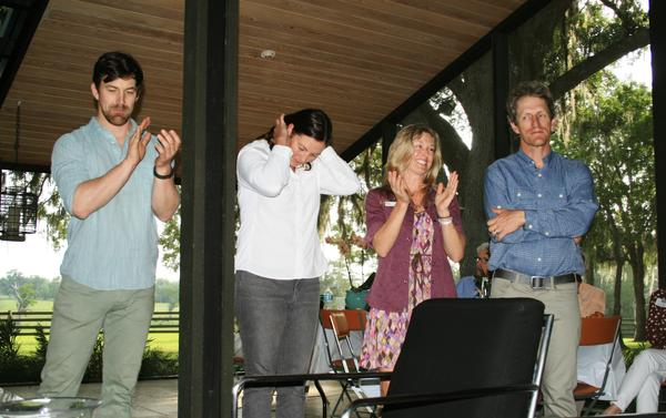 The finale party was held at the Little Everglades Ranch in Dade City. From left, Joe Guthrie, Mallory Lykes Dimmitt, Corridor Executive Director Lindsay Cross, and Carlton Ward Jr.
