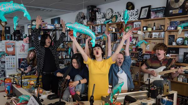 Superorganism performs a Tiny Desk Concert on April 3, 2018 (Jenna Sterner/NPR).