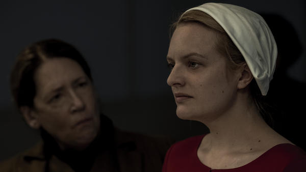 Ann Dowd plays Aunt Lydia, one of the tormentors of June, played by Elisabeth Moss, in Hulu's <em>The Handmaid's Tale</em>.