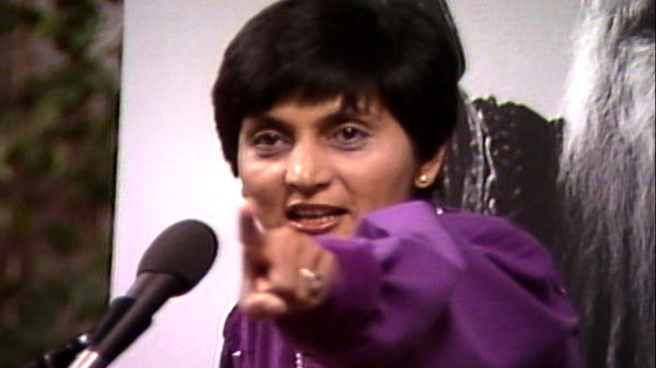 Ma Anand Sheela, seen here in archival footage, is the star of the Netflix documentary series <em>Wild Wild Country</em>.