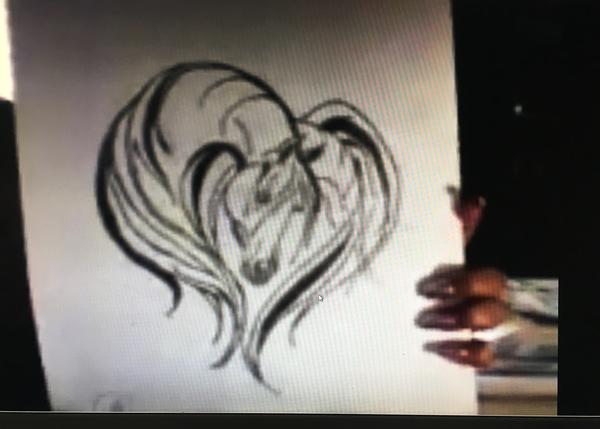 A sketch of a horse takes on the shape of a heart, one of the drawings created by Navy veteran Darlinda Reaves during her art therapy sessions.