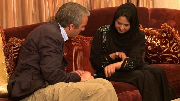 CNN's Nic Robertson, left, and Iman al-Obeidi during their interview on Wednesday.