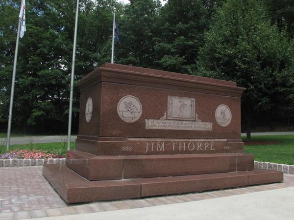 Jim Thorpe's rose-colored granite tomb sits alongside Pennsylvania Route 903 in Jim Thorpe, Pa.