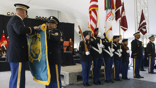 Army personnel take part in a flag casing ceremony at Walter Reed Army Medical Center in Washington, D.C., on July 27.