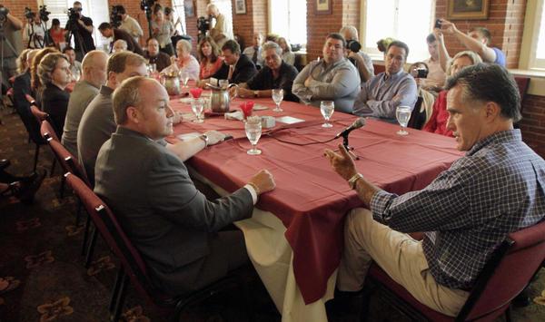 GOP hopeful Mitt Romney met with business leaders in Claremont, N.H., on Aug. 24.