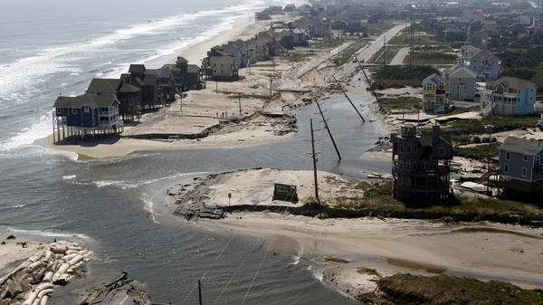 A section of Highway 12 in Hatteras Island, N.C., was flooded when Hurricane Irene tore through the area on Saturday. The storm cut off the roadway in five locations.