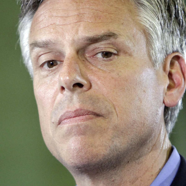 Former Utah Gov. Jon Huntsman is seen during a campaign stop at Gilchrist Metal Fabrication Wednesday in Hudson, N.H.