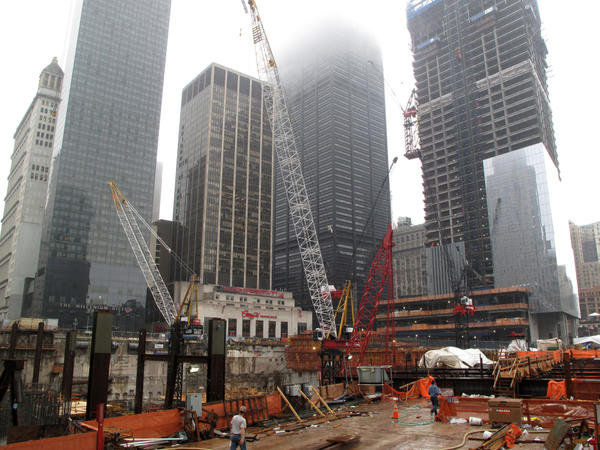 """New buildings are rising out of the old foundation of the Twin Towers site, once called the """"pit"""" or the """"bath tub."""" Kevin Devlin says he's glad to see the buildings are finally starting to take shape."""