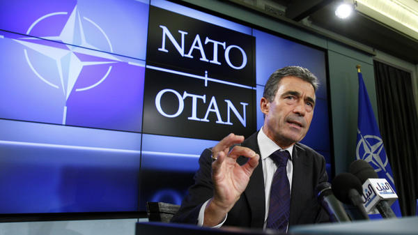NATO Secretary General Anders Fogh Rasmussen speaks in Brussels on Sept. 5. Rasmussen calls NATO's operation in Libya a success that could serve as a model in the future.