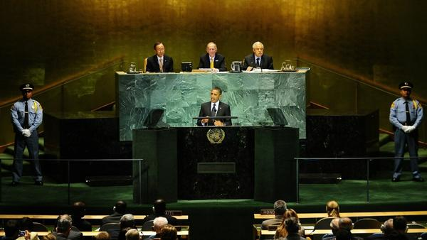 President Obama addresses the Millennium Development Goals Summit at the United Nations headquarters in 2010.