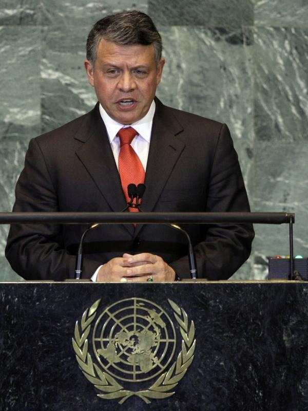 King Abdullah II bin al-Hussein of  Jordan addresses the 66th session of the United Nations General Assembly on Wednesday.
