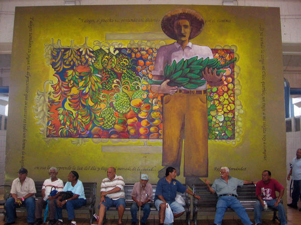 Plaza del Mercado is a lively gathering place in Rio Piedras.  But many shops have closed because of the struggling economy.