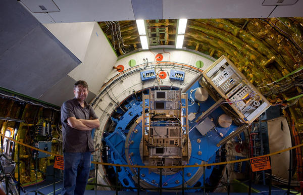 Scientist David Neufeld is searching for evidence of a small molecule called mercapto in interstellar gas. Here, he's inside the SOFIA, a modified 747, while it was parked at Andrews Air Force Base on Sept. 23.