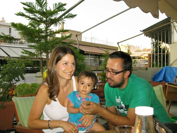 <p>Stella Kasdagli, 30, and her husband Alexandros Karamalikis, 35, are trying to make ends meet. Karamalikis lost his job and and is now a stay-at-home father, raising their 13-month-old daughter</p>