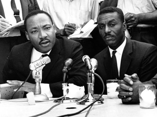 <p>Civil rights leaders Rev. Martin Luther King Jr., left, Rev. Fred Shuttlesworth, center, and Rev. Ralph Abernathy hold a news conference in Birmingham, Ala., in this May 8, 1963 file photo. Shuttlesworth, who was hailed by the Rev. Martin Luther King Jr. for his courage and energy, died Wednesday, Oct. 5.</p>