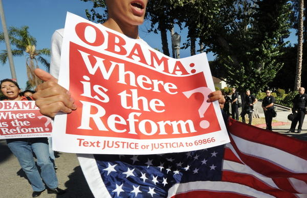 <p>Last summer, immigration rights activists in Los Angeles gathered for a rally calling on the government to act on immigration overhaul legislation. Strong Latino support helped President Obama win in 2008, but his support among those voters is slipping. </p>