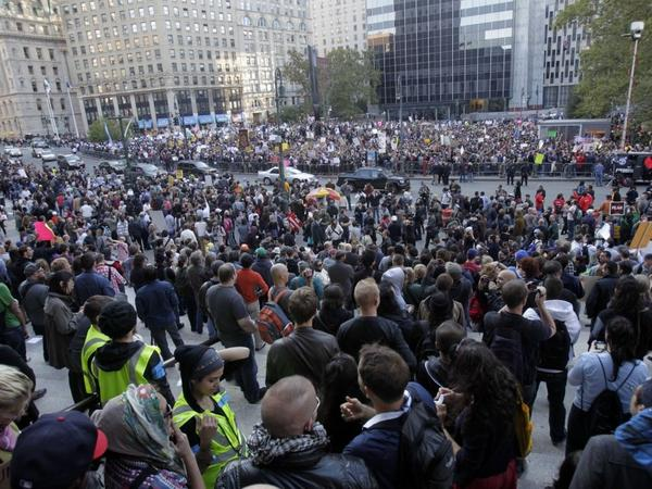 <p>Occupy Wall Street protesters join a labor union rally in New York's Foley Square on Wednesday.</p>