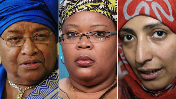 "<p>The Nobel Peace Prize was awarded to three women on Friday. From left: President Ellen Johnson Sirleaf of Liberia, Liberian ""peace warrior"" Leymah Gbowee and Tawakkul Karman of Yemen.</p>"