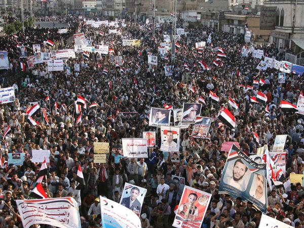 <p>Thousands of anti-government protesters in Yemen demonstrate against President Ali Abdullah Saleh last month. Saudi Arabia wants Saleh to step down, but also worries that his departure could lead to chaos.</p>