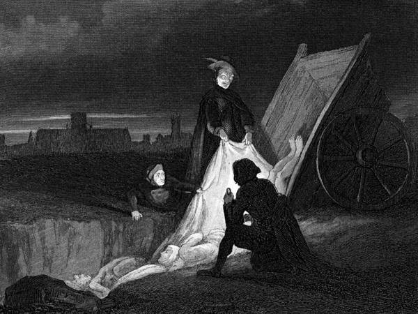 <p>Victims of the plague are consigned to a communal burial during the Plague of London in 1665. </p>