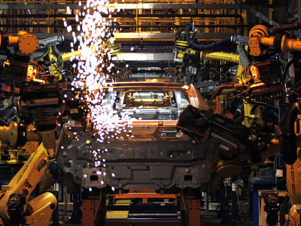 <p>Chevy Volt electric vehicles and Opel Amperas go through assembly at General Motors' Detroit Hamtramck Assembly Plant on Tuesday. In contrast to the steelworkers, the auto industry and its workers are big fans of the free-trade deal with South Korea.</p>
