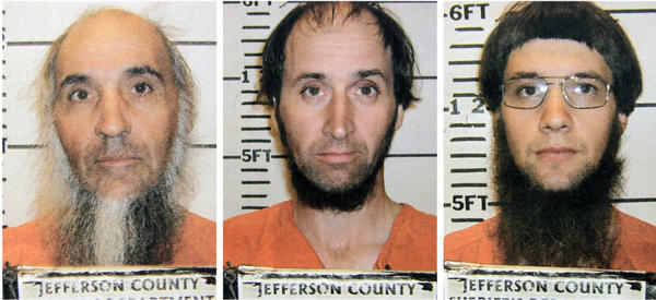 <p>Levi Miller (from left), Johnny Mullet and Lester Mullet are believed to be members of a breakaway Amish group that went into the home of an elderly Amish man and cut his hair and beard.</p>