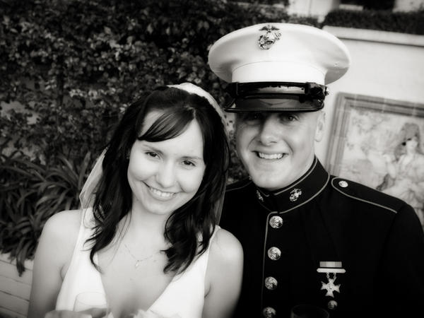 <p>Ashley and Sgt. Ian Tawney (seen here on their wedding day) had known each other since they were children. Ian Tawney was killed Oct. 16, 2010, by an improvised explosive device while on a foot patrol in Sangin. Ashley says she doesn't know how she made it to the door the day Marine officers came to her house to tell her that her husband was dead.</p>