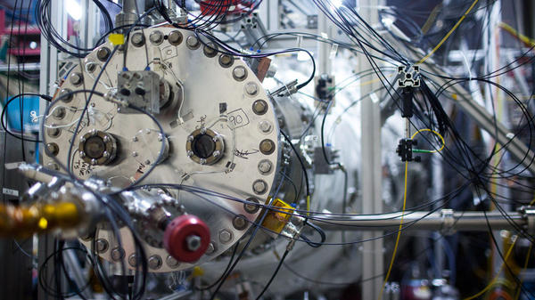 A section of the fusion machine being tested at General Fusion's facility outside of Vancouver, British Columbia. General Fusion is hoping to implement a long-shot strategy that could produce fusion energy in the next few years.