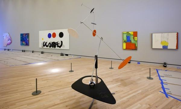 Inside Crystal Bridges, galleries will feature colonial, 19-century, modern and contemporary artworks including Alexander Calder's sculpture <em>Trois noirs sur un rouge</em> (center).