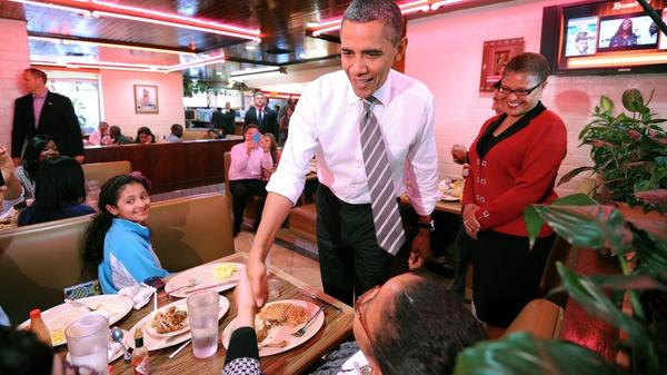 President Obama greets diners in Los Angeles last month. He faces long odds in his quest for re-election. Among them: unemployment, eroding support among independent voters and approval ratings that are well below those of previous presidents who won a second term.