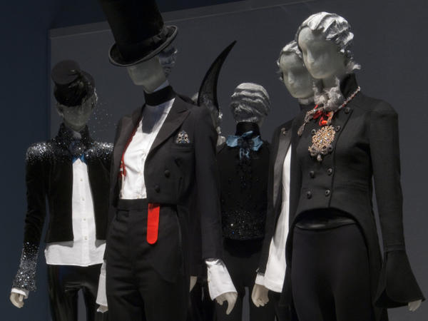 Ensembles from the DANDYISM section of the exhibition <em>Daphne Guinness</em> at The Museum at FIT.