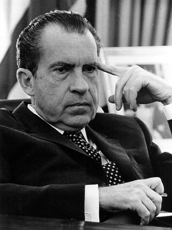 President Richard Nixon in the Oval Office on Feb. 19, 1970.