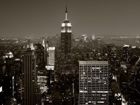 "Manhattan, Copland's ""Quiet City,"" at night."