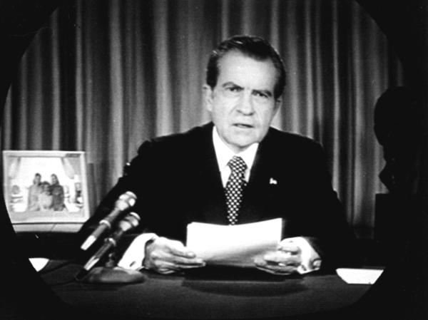 President Richard Nixon faced television cameras in the Oval Office on April 30, 1973 to announce the departure of his two closest assistants in the deepening Watergate scandal.
