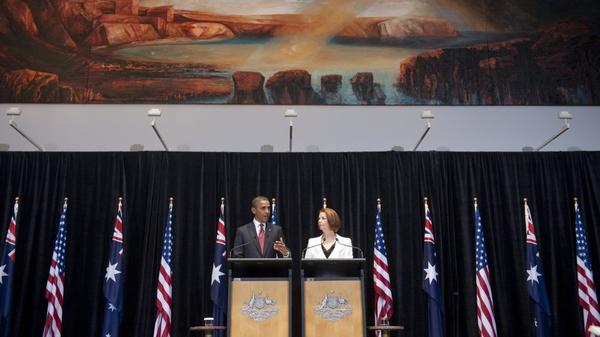 Australian Prime Minister Julia Gillard and President Obama hold a joint news conference in Australia on Wednesday. The U.S. is sending some 250 U.S. Marines to the country next year, a number that will later grow to 2,500.