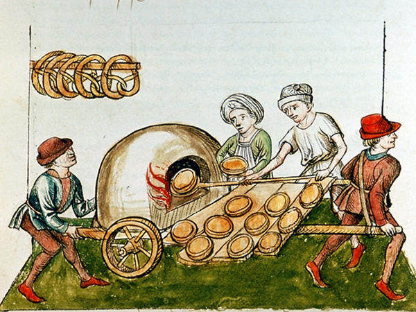 A drawing of a medieval pie baker, circa 1465-1475.