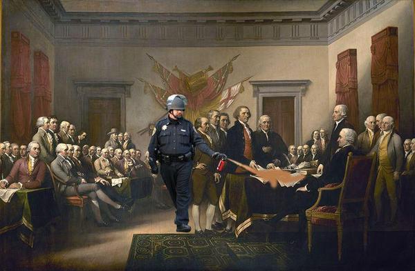 "Spraying the Declaration of Independence (John Trumbull's ""Declaration of Independence"")."