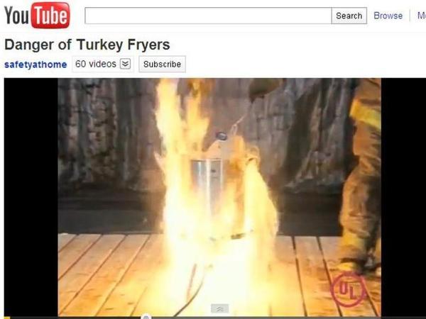 Frozen turkey hot oil = big problem.