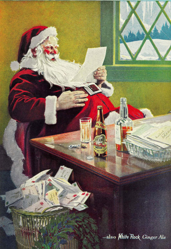 One of several White Rock holiday ads that ran during the 1920s. Looks like Santa was a bad boy that particular holiday, as he is using the beverage as a mixer  during the Prohibition era.