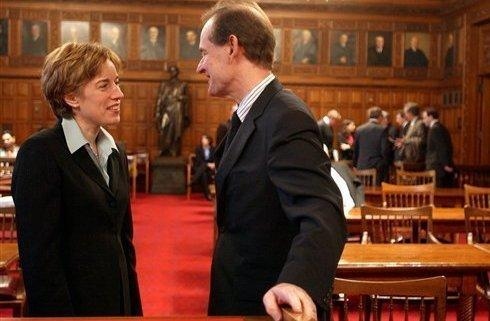 Caitlin J. Halligan, then a lawyer for New York State, and attorney David Boies spoke in the Court of Appeals in Albany in 2005. On Tuesday, Senate Republicans blocked Halligan's nomination to the U.S. Court of Appeals for the District of Columbia.