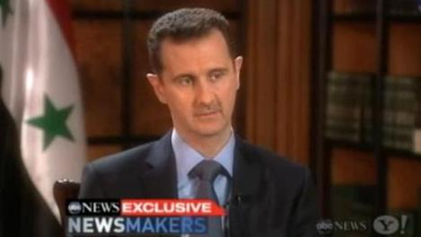 President Bashar Assad during his interview with ABC News' Barbara Walters.