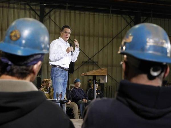 Mitt Romney speaks Friday at Missouri Valley Steel in Sioux City, Iowa.