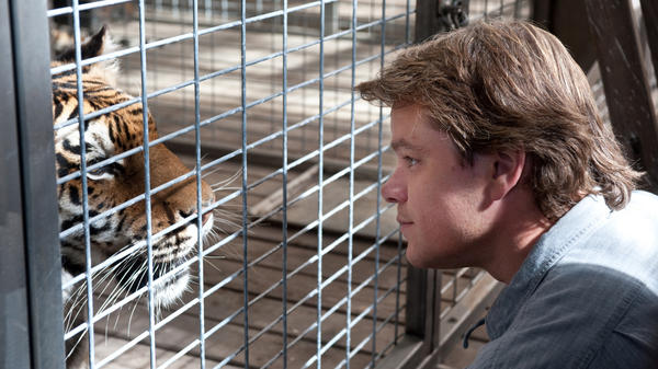 Matt Damon gets up close and personal with one of his new four-legged family members in <em>We Bought A Zoo</em>.