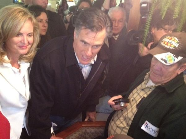 Mitt and Ann Romney campaign at Village Pizza in Newport, N.H.