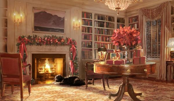 The 2011 holiday greeting card sent from the Obama family features this image of the First Dog, Bo.