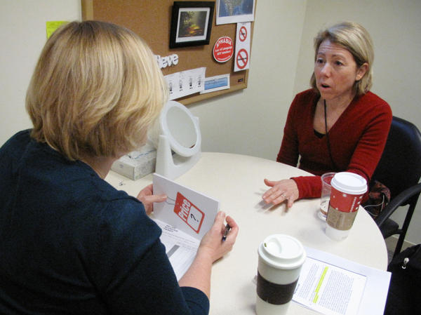 Debra Meyerson participates in a singing therapy at the Beth Israel Deaconess Medical Center in Boston, MA. Meyerson suffered a stroke 15 months ago and is now beginning to talk again.
