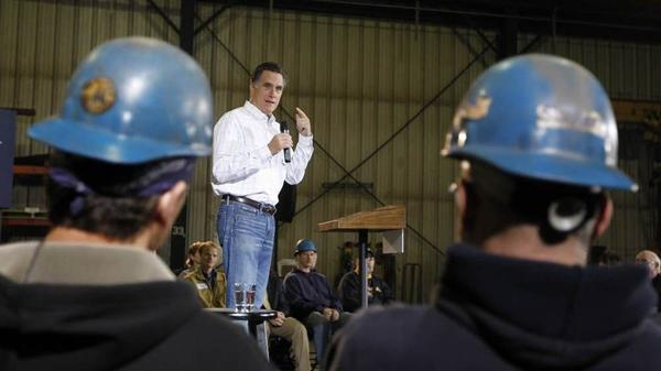 Mitt Romney speaks Dec. 16 at Missouri Valley Steel in Sioux City, Iowa.