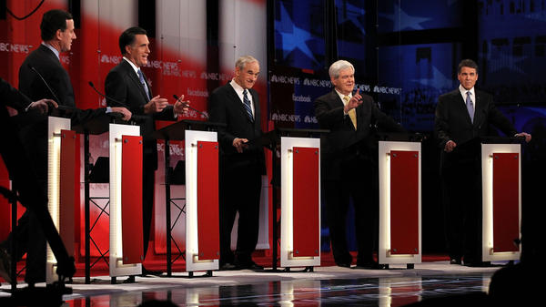 The Republican presidential candidates duke it out at the NBC News-Facebook debate on <em>Meet the Press</em> on Sunday.