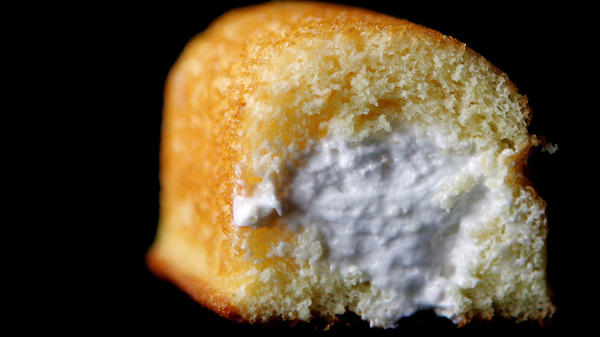 A Twinkie shows off its creamy filling in this file photo from 2005. A snack-cake sales slump is one reason Hostess Brands is seeking protection from its creditors.