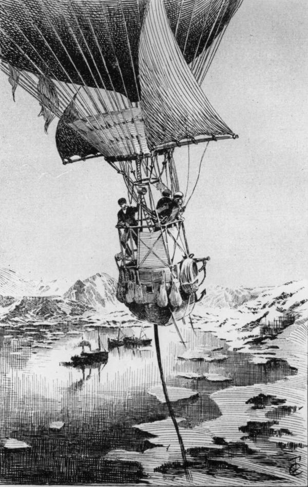 An illustration from Joseph Lecornu's 1903 book <em>La Navigation Aerienne</em> depicts Swedish explorer S.A. Andree taking off in a hydrogen balloon on an ill-fated expedition to the North Pole in July 1897.